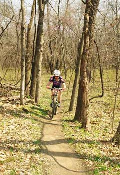 Enjoying the buffed singletrack at Crowder State Park.